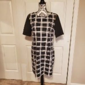 Apt. 9 Black & White Dress with Zipper Accents